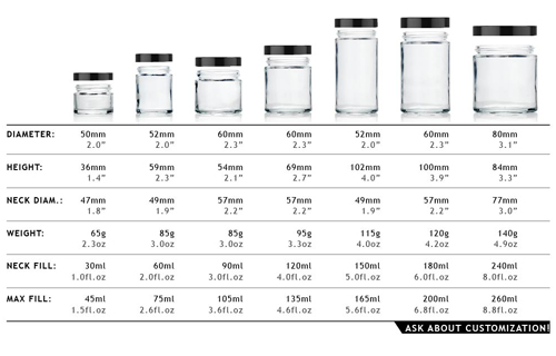 straight sided jars specs
